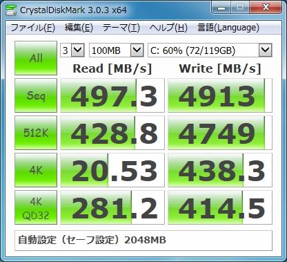 スーパードライブPFB セーフ設定 標準(約15ms) ベンチマーク結果