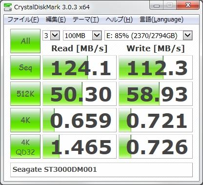 Seagate ST3000DM001のベンチマーク結果