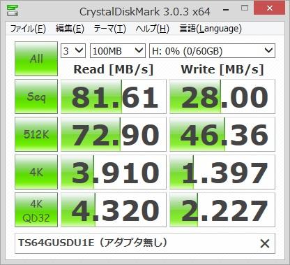 Transcend TS64GUSDU1Eのベンチマーク結果(アダプタ無し)