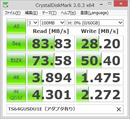 Transcend TS64GUSDU1Eのベンチマーク結果(アダプタ有り)