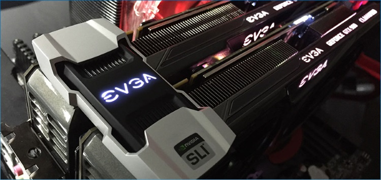 EVGA PRO SLI BRIDGES V2を取り付けた様子