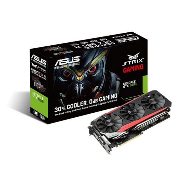 ASUS STRIX-GTX980TI-DC3OC-6GD5-GAMING本体とパッケージ