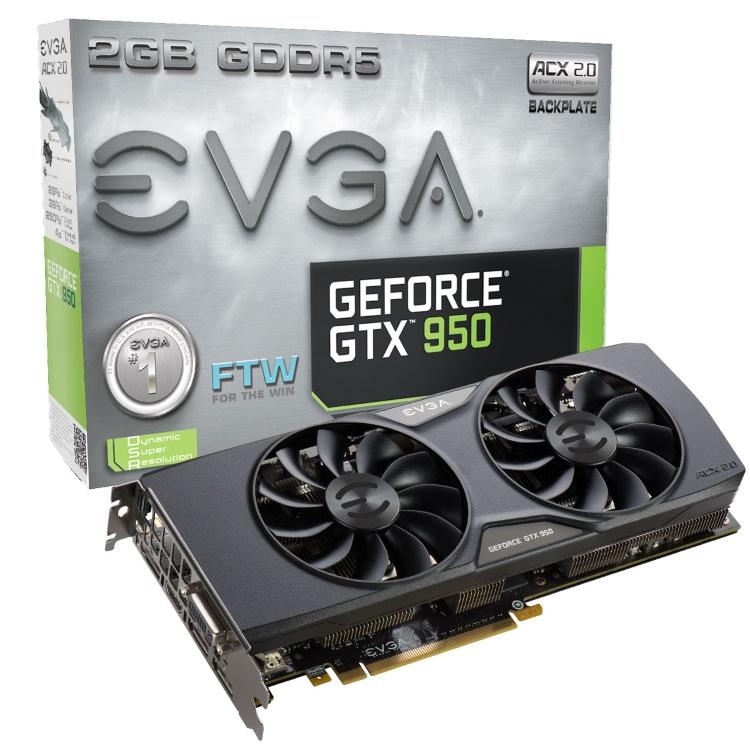 EVGA GeForce GTX 950 FTW ACX 2.0の本体とパッケージ