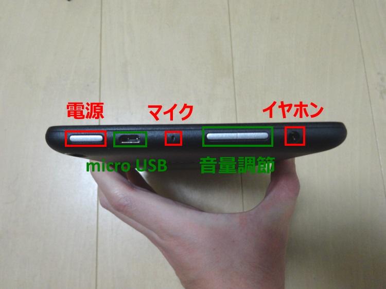 Fire タブレット 8GB、ブラック本体上面の機能解説