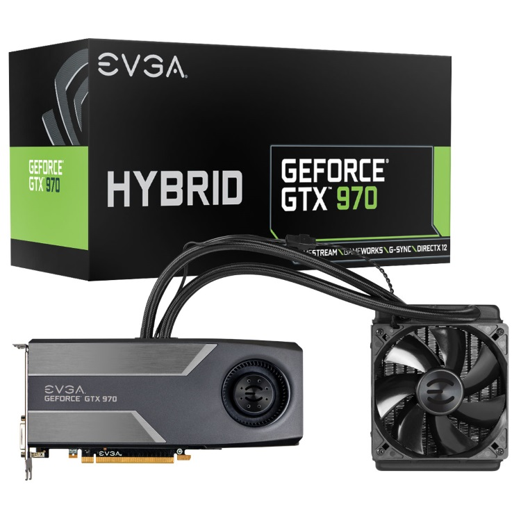 EVGA GeForce GTX 970 HYBRID GAMING本体とパッケージ