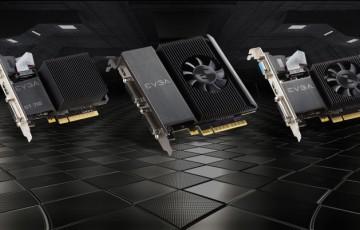 EVGA GeForce GT710搭載ビデオカード3種類が並んだ様子