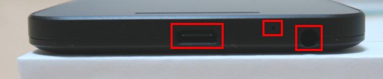 Google Nexus 5X(LG-H791)本体下面の様子