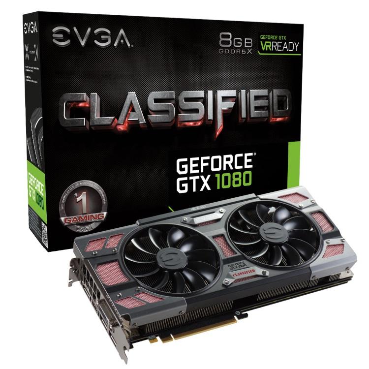 EVGA GeForce GTX 1080 CLASSIFIED GAMING ACX 3.0のパッケージと本体