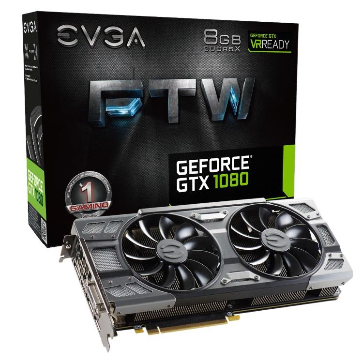 EVGA GeForce GTX 1080 FTW GAMING ACX 3.0のパッケージと本体