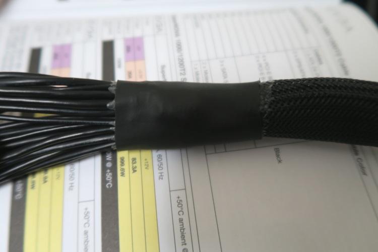 EVGA SuperNOVA 1000 T2のケーブルの処理が甘い箇所(24pinケーブル)