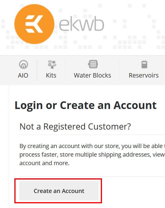 ekwb公式オンラインショップのアカウントを作成する方法(手順3)