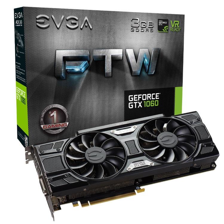 EVGA GeForce GTX 1060 3GB FTW本体とパッケージ