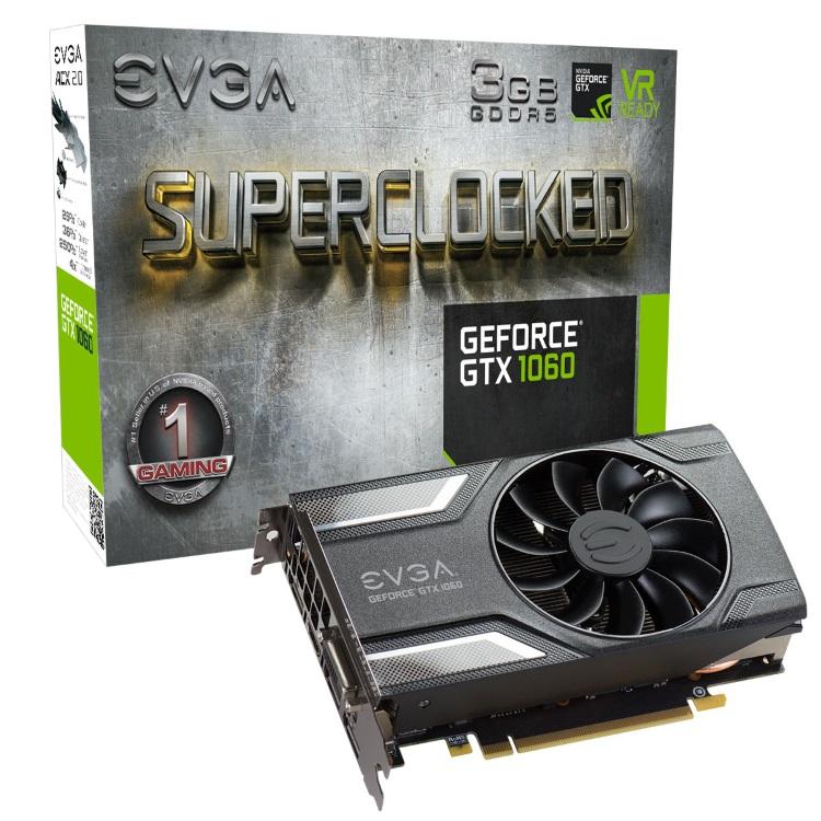 EVGA GeForce GTX 1060 3GB SC本体とパッケージ