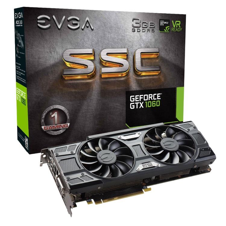 EVGA GeForce GTX 1060 3GB SSC本体とパッケージ