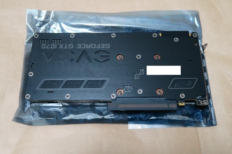 EVGA GeForce GTX 1070 FTW GAMING ACX 3.0本体裏(バックプレート)