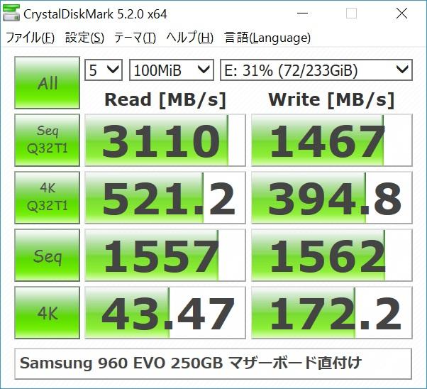 Samsung 960 EVO 250GBのベンチマーク結果(マザーボード直付け)