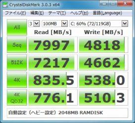スーパードライブPFB ヘビー設定 RAMDISK ベンチマーク結果
