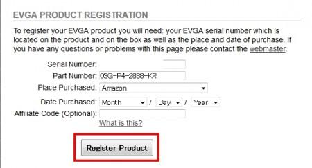 EVGA製品の登録方法02