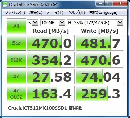 Crucial CT512MX100SSD1使用後のベンチマーク結果