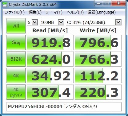 MZHPU256HCGL-00004のベンチマーク結果(OS入り+ランダム)