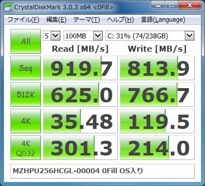MZHPU256HCGL-00004のベンチマーク結果(OS入り+0Fill)