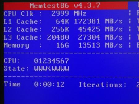 MemTest86 V4.3.7の動作画面