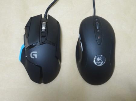 Logicool G502とMX518の比較