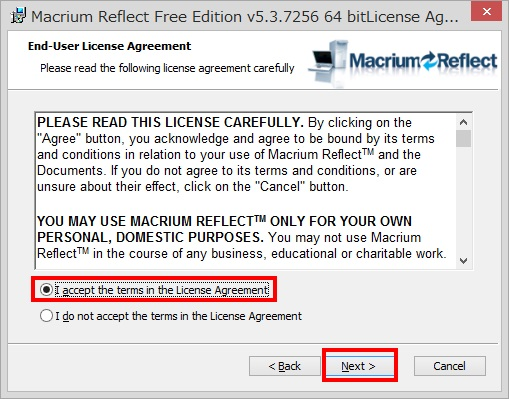 Macrium Reflect Free Editionのインストール手順7