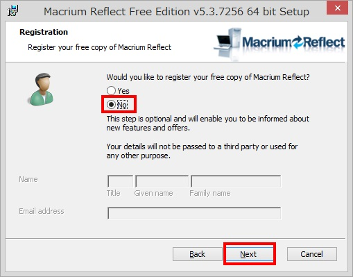 Macrium Reflect Free Editionのインストール手順9