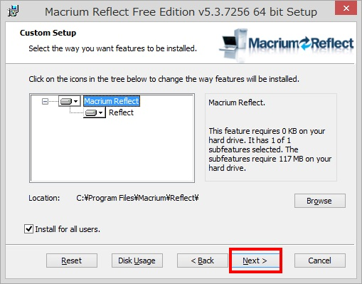 Macrium Reflect Free Editionのインストール手順10