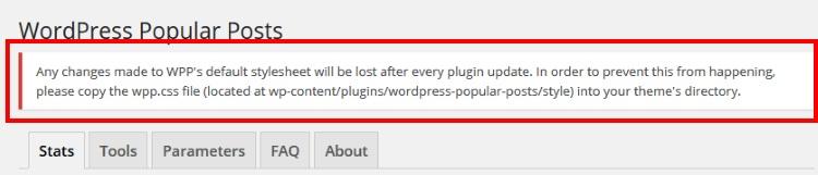 WordPress Popular Posts設定画面のメッセージ