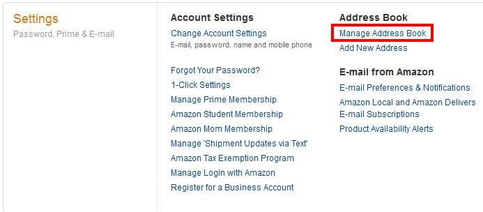 amazon.comで住所登録する手順2