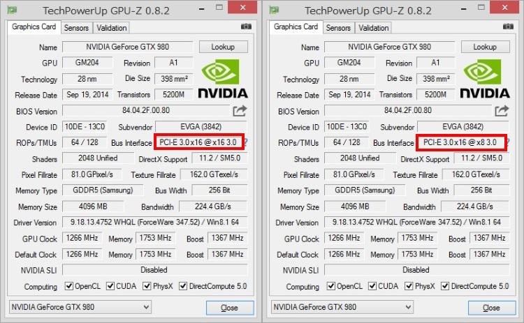 GPU-ZでPCIe3.0 x16とx8動作を確認した画像