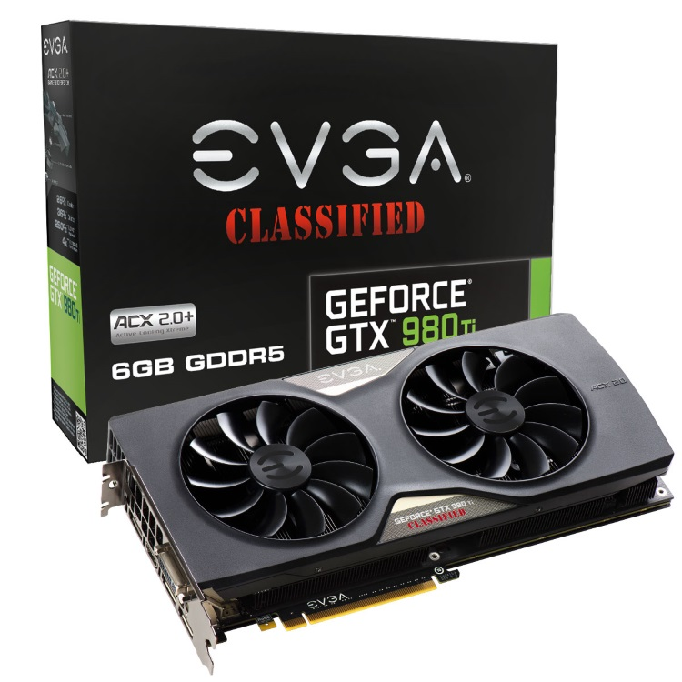 EVGA GeForce GTX 980 Ti Classified ACX 2.0+のパッケージと本体