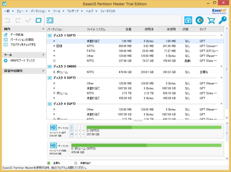 EaseUS Partition Master Professionalのホーム画面