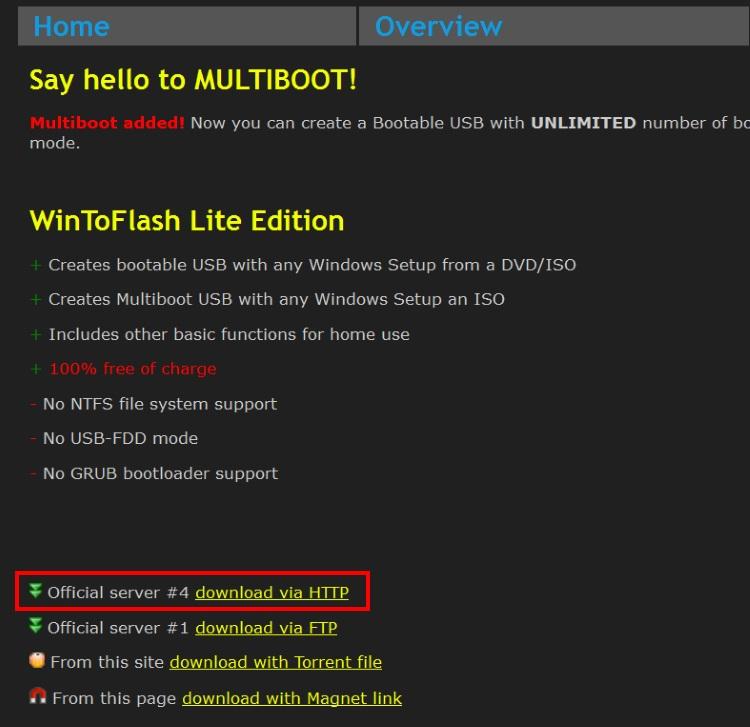 WinToFlash Liteのダウンロード画面
