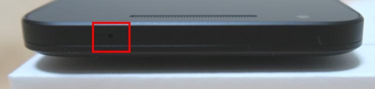 Google Nexus 5X(LG-H791)本体上面の様子