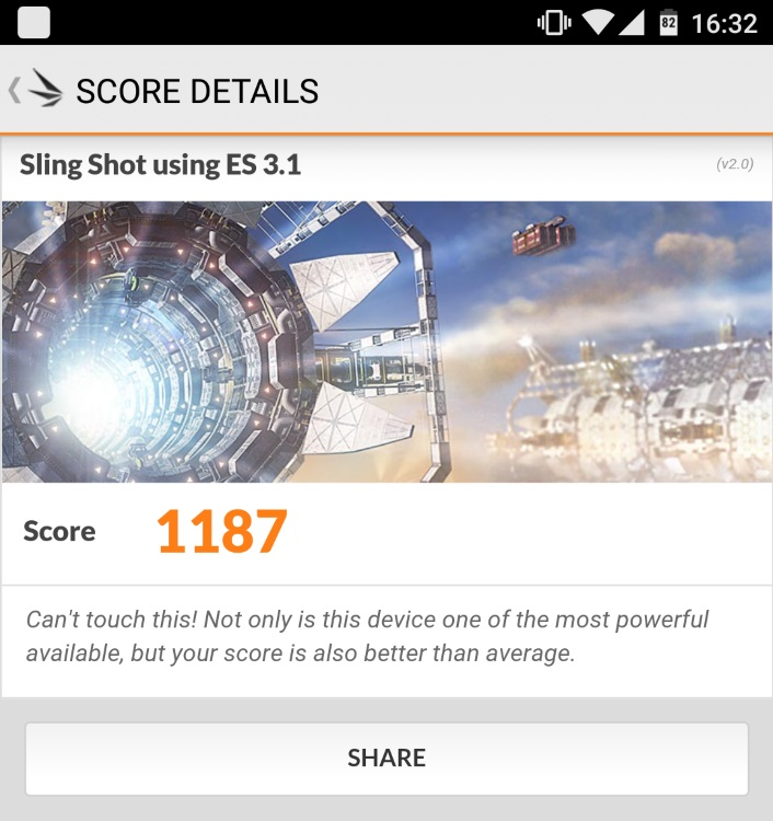 Google Nexus 5X(LG-H791)のベンチマーク結果(3D Mark Sling Shot)