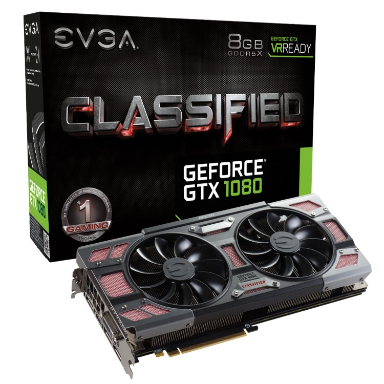 EVGA GeForce GTX 1080 CLASSIFIED GAMING ACX 3.0のパッケージと本体