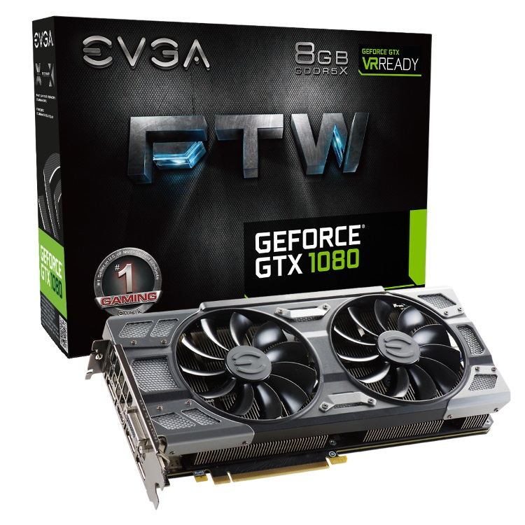 EVGA GeForce GTX 1080 FTW GAMING ACX 3.0のパッケージと本体