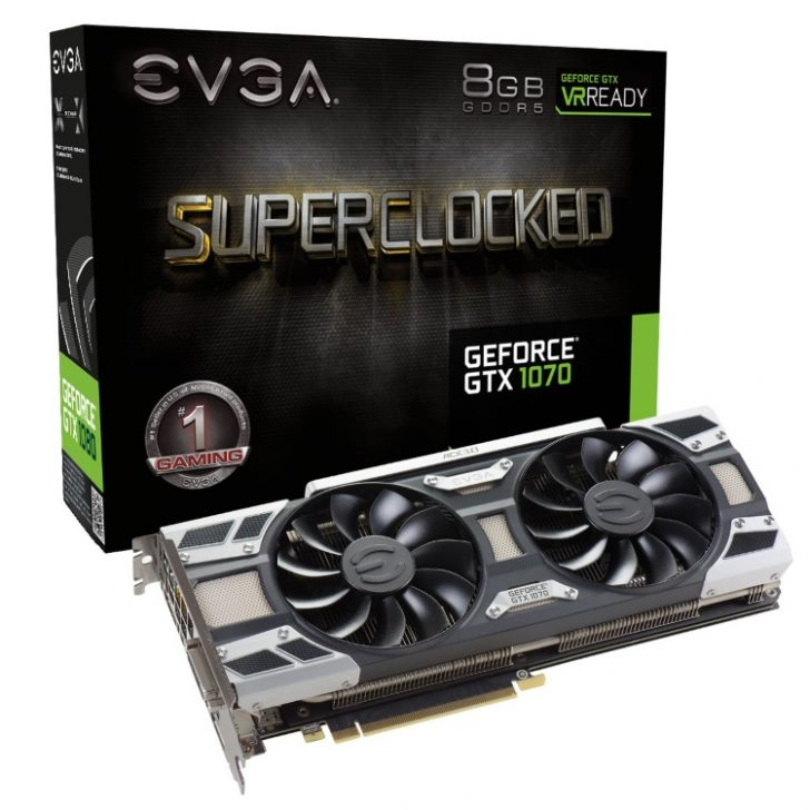 EVGA GeForce GTX 1070 SC GAMING ACX 3.0の本体とパッケージ
