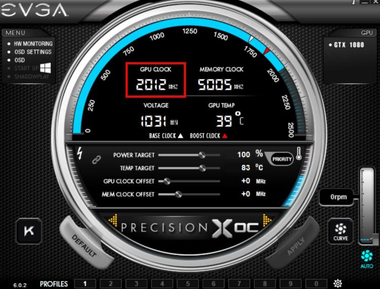 EVGA GeForce GTX 1080 SC GAMING ACX 3.0のコアクロックが2012MHzまで自動ブーストした様子(PrecisionX OC)