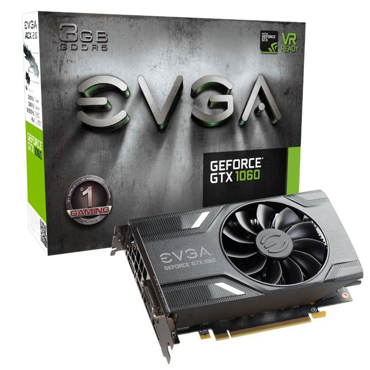 EVGA GeForce GTX 1060 3GB本体とパッケージ