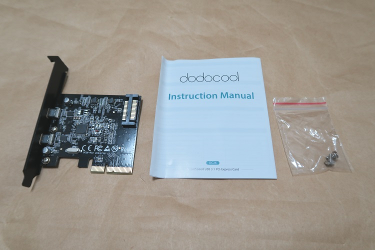 USB3.1&USB Type-C増設カード dodocool DC26の製品内容