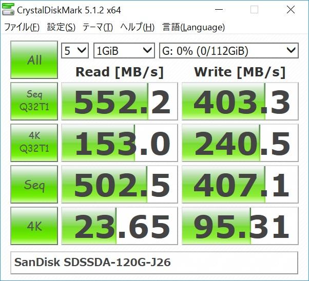 SanDisk SSD PLUS 120GB SDSSDA-120G-J26のベンチマーク結果(CrystalDiskMark)