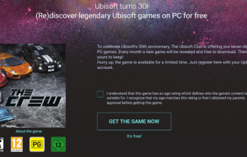 THE crewの配布画面(Ubisoft)