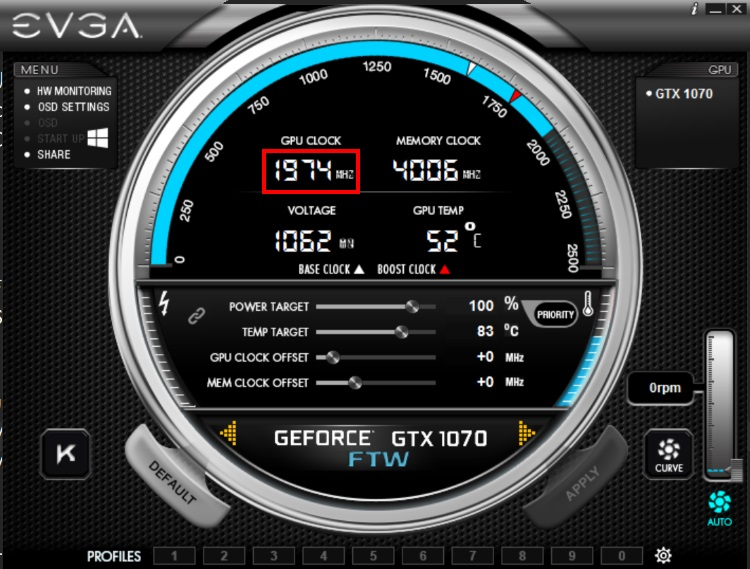 EVGA GeForce GTX 1070 FTW GAMING ACX 3.0のクロックをPrecisionX OCで読み取った様子