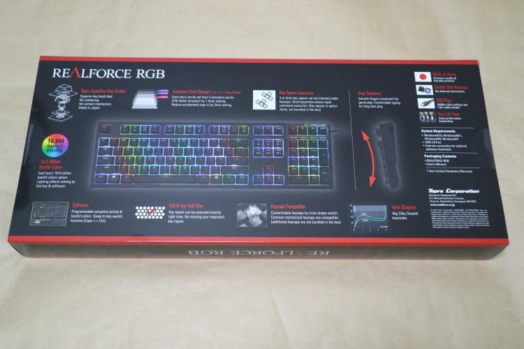 東プレ REALFORCE RGB AEAX01のパッケージ(裏側)