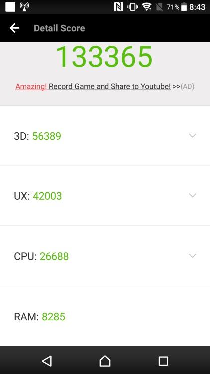 SONY Xperia XZs G8232のベンチマーク結果(Antutu Benchmark)