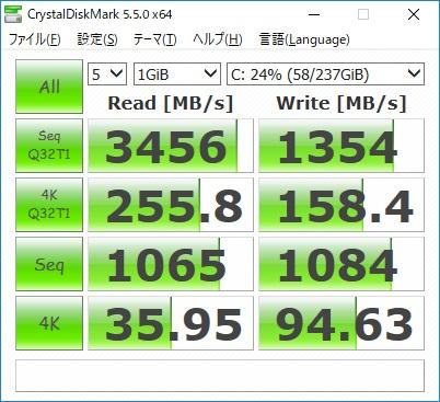 Xiaomi Notebook Air 13.3 指紋認証対応モデルのベンチマーク結果(CrystalDiskMark)